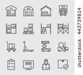warehouse line icon | Shutterstock .eps vector #443739814