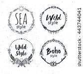 hand drawn boho design elements ...   Shutterstock .eps vector #443744041