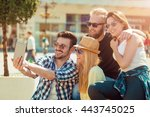 group of friends taking a... | Shutterstock . vector #443745025
