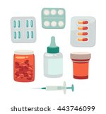 medical pills and bottles set... | Shutterstock .eps vector #443746099