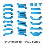 set of modern high quality blue ... | Shutterstock .eps vector #443756899
