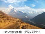 Small photo of Evening panoramic view of mount Ama Dablam with beautiful sky on the way to Everest base camp, Khumbu valley, Sagarmatha national park, Everest area, Nepal