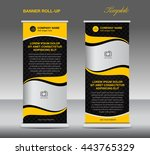 yellow roll up banner stand... | Shutterstock .eps vector #443765329