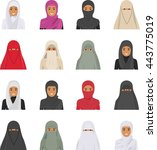 different muslim arab people... | Shutterstock .eps vector #443775019