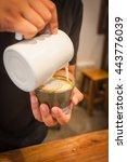 preparing steam in coffee shop... | Shutterstock . vector #443776039