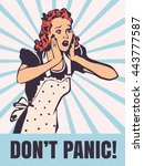 housewife in panic emotion... | Shutterstock .eps vector #443777587