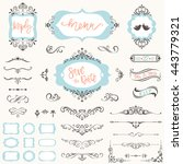 vintage wedding frames  swirls  ... | Shutterstock .eps vector #443779321
