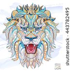 patterned head of the roaring... | Shutterstock .eps vector #443782495