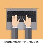 flat modern laptop isolated... | Shutterstock .eps vector #443782945
