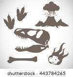 dinosaur icon set vector  | Shutterstock .eps vector #443784265