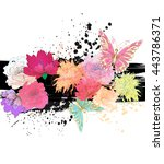 vector tropical background with ... | Shutterstock .eps vector #443786371