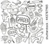 garden outdoor doodle icons... | Shutterstock .eps vector #443787985