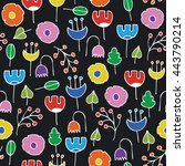 simple colorful floral seamless ... | Shutterstock .eps vector #443790214