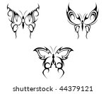 isolated tattoos of butterfly... | Shutterstock . vector #44379121