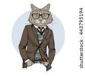 cat dressed up in tweed jacket  ... | Shutterstock .eps vector #443795194