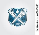 vintage plumbing service badge  ... | Shutterstock .eps vector #443800099