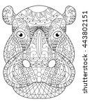 hippopotamus head coloring book ... | Shutterstock .eps vector #443802151