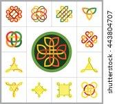 celtic ornament icon set   Shutterstock .eps vector #443804707