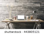 front view of hipster workplace ... | Shutterstock . vector #443805121