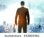 research concept with back view ... | Shutterstock . vector #443805481