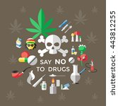 flat drugs poster with title...   Shutterstock .eps vector #443812255