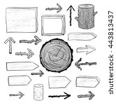 collection of doodle sketch... | Shutterstock . vector #443813437