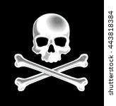 shaded skull and crossbones 3d... | Shutterstock .eps vector #443818384
