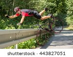 cyclist falls off the bike into ... | Shutterstock . vector #443827051