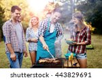 friends camping and having a... | Shutterstock . vector #443829691