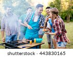 friends having a barbecue party ... | Shutterstock . vector #443830165