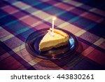 birthday celebration cake slice ... | Shutterstock . vector #443830261