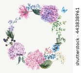 Stock vector summer vintage floral greeting wreath with blooming hydrangea and garden flowers botanical natural 443838961