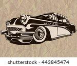 vintage american muscle car ... | Shutterstock .eps vector #443845474