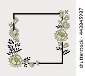 square frame with flowers.... | Shutterstock .eps vector #443845987