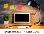 front view of creative hipster... | Shutterstock . vector #443852641