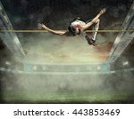 athlete in action of high jump. | Shutterstock . vector #443853469