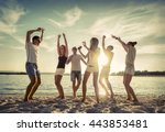 friends funny dance on the... | Shutterstock . vector #443853481