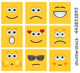 vector modern yellow face set... | Shutterstock .eps vector #443853895