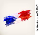 french hand drawn national flag.... | Shutterstock .eps vector #443857801