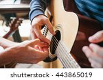 learning to play the guitar.... | Shutterstock . vector #443865019