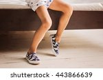 legs in shoes of little boy in... | Shutterstock . vector #443866639