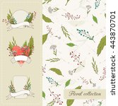 botanical set. seamless vector...   Shutterstock .eps vector #443870701