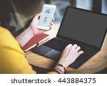mockup copyspace mobile using... | Shutterstock . vector #443884375