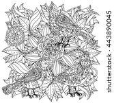 contoured mandala shape flowers ... | Shutterstock .eps vector #443890045