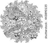contoured mandala shape flowers ... | Shutterstock .eps vector #443890135