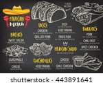 mexican menu placemat food... | Shutterstock .eps vector #443891641