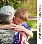 a soldier father is hugging his ... | Shutterstock . vector #443895511