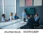 woman presenting her ideas on a ... | Shutterstock . vector #443901889