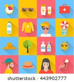 skin protection and sun safety... | Shutterstock .eps vector #443902777