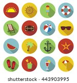 summer icons in flat design... | Shutterstock .eps vector #443903995